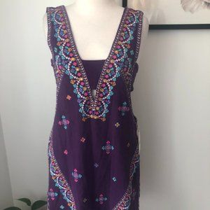 Free People Purple Embroidered Dress Size Small
